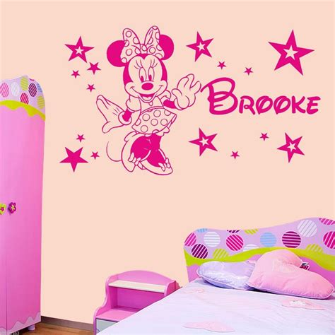 Tokomonster Minnie Mouse 4 Name Wall Decal Sticker Size 23 home decoration personalised minnie mouse bedroom wall sticker decal any name