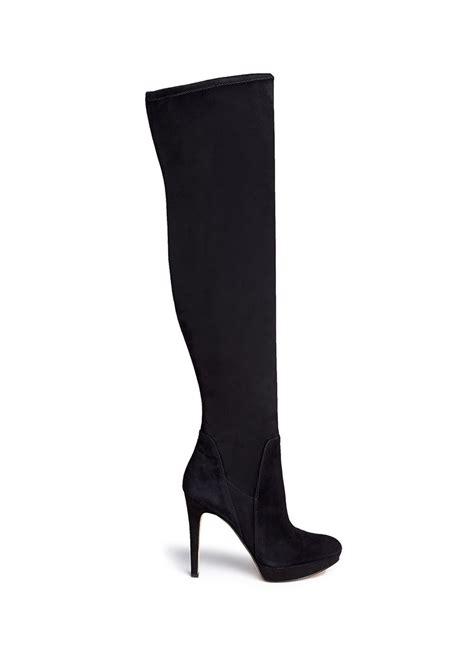 sam edelman stretch suede thigh high boots in black