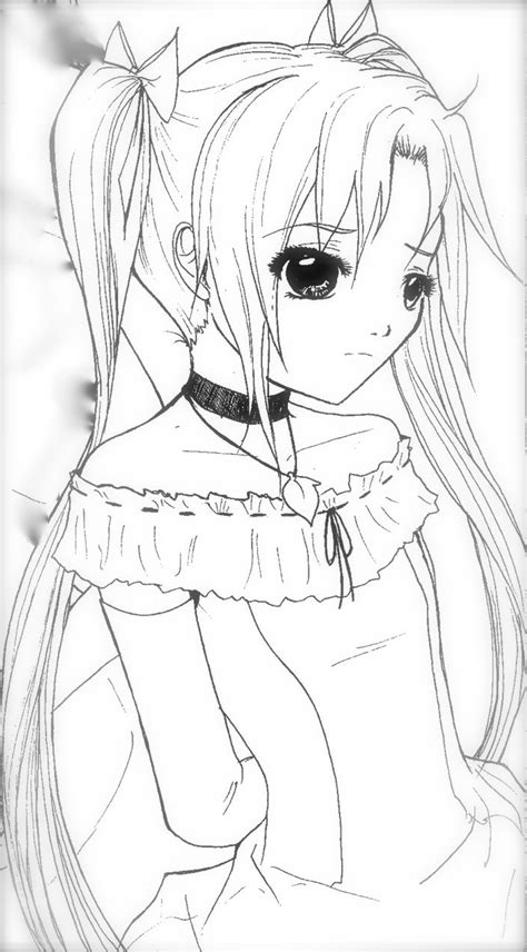 manga girl coloring pages anime coloring page sad pinterest anime adult