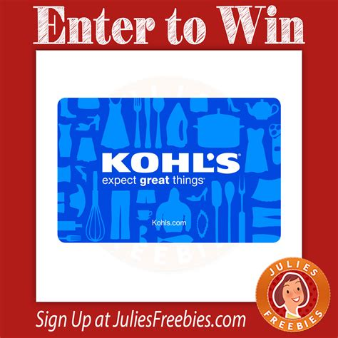 Gift Cards At Kohls - win a 100 kohl s gift card julie s freebies