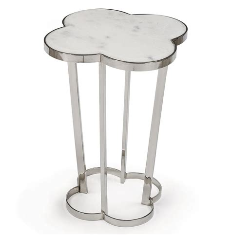 silver metal end table lansbury marble top silver metal clover end table