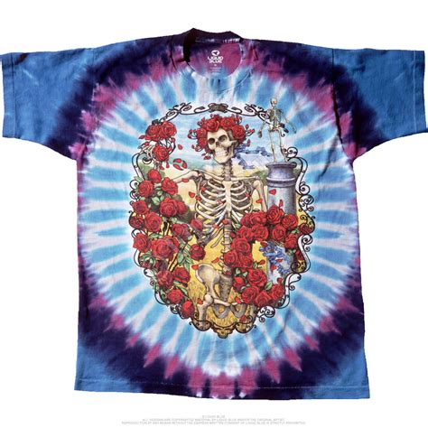 grateful dead 30th anniversary tie dye t shirt liquid blue