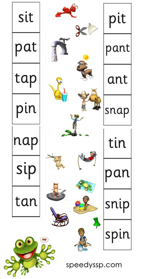 ssp phonics green level reading practice s a t p i n ssp green level speech sound pic words
