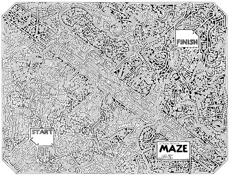 printable hamburger maze free coloring pages of complicated maze
