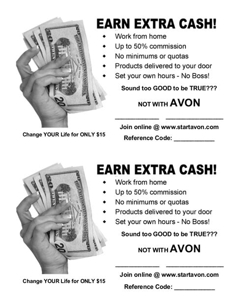 avon flyer template earn with avon flyer