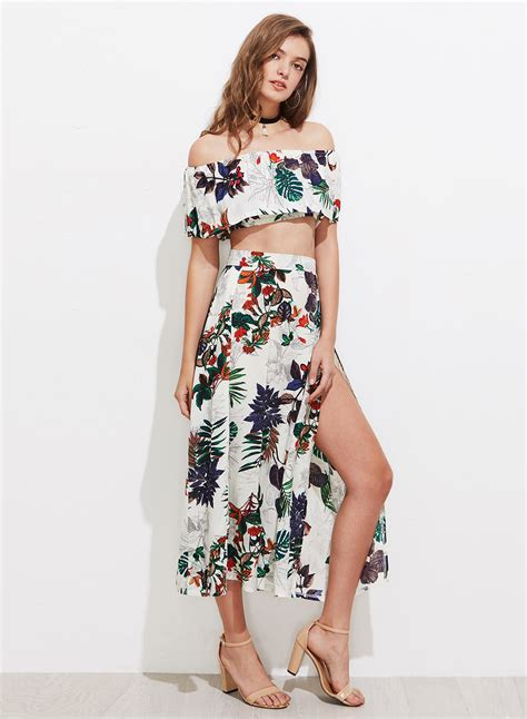 set print top skirt s shoulder floral print top skirt set