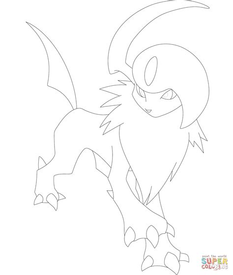 pokemon coloring pages of absol absol coloring page free printable coloring pages