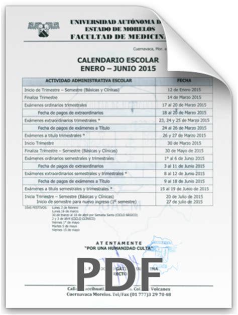 Calendario Escolar Uaem Calendario Escolar Semestre Enero Junio 2015