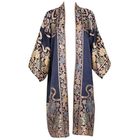 Floral Motif Outerwear 1920 s silk coat duster w kimono sleeves and metallic floral design motif at 1stdibs