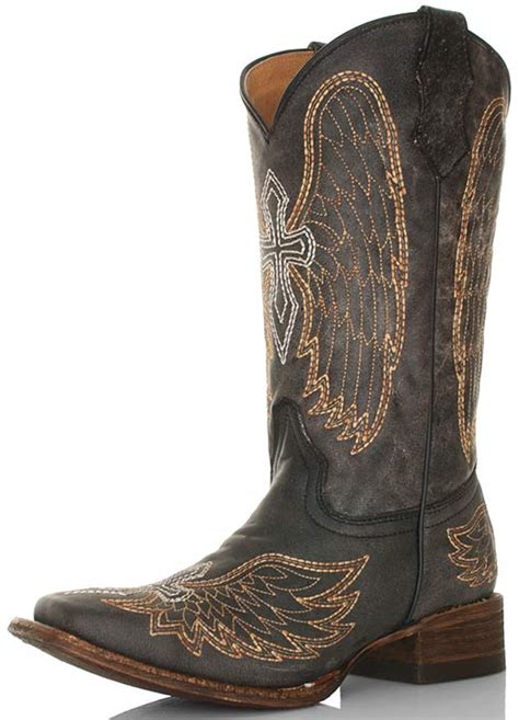 black square toe cowboy boots corral youth distressed black square toe cowboy boots with