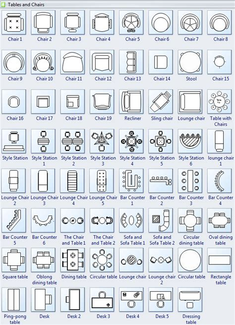 floor plan symbols chart symbols for floor plan tables and chairs