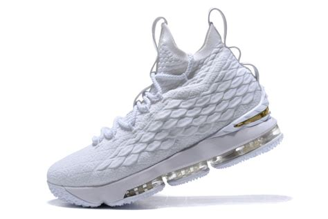 nike and white basketball shoes new nike lebron 15 all white basketball shoes cheap sale