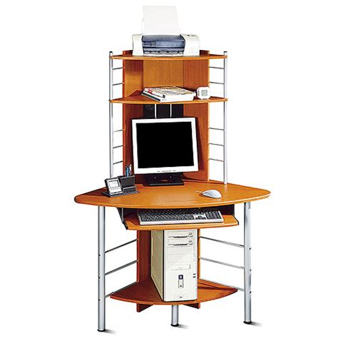 A Tower Corner Computer Desk Corner Tower Computer Desk Honey Pine And Silver Walmart