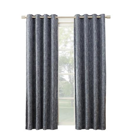 polyester blackout curtains shop allen roth pierston 84 in indigo polyester grommet