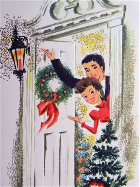 couple   front door vintage christmas card vintage christmas cards christmas cards