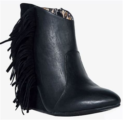 torrid fringe wedge boots size 12 black nwb us