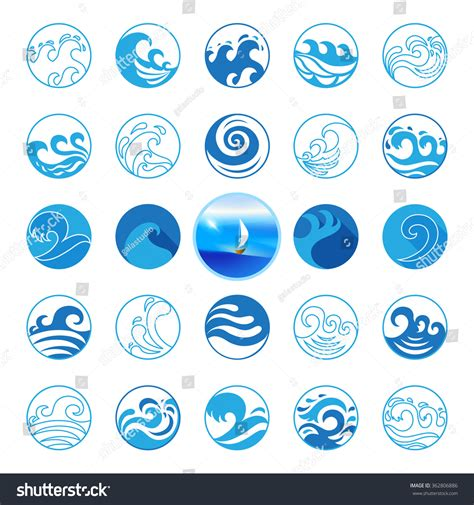 best photos of wave symbol vector graphics wave icons set water symbol logo stock vector 362806886