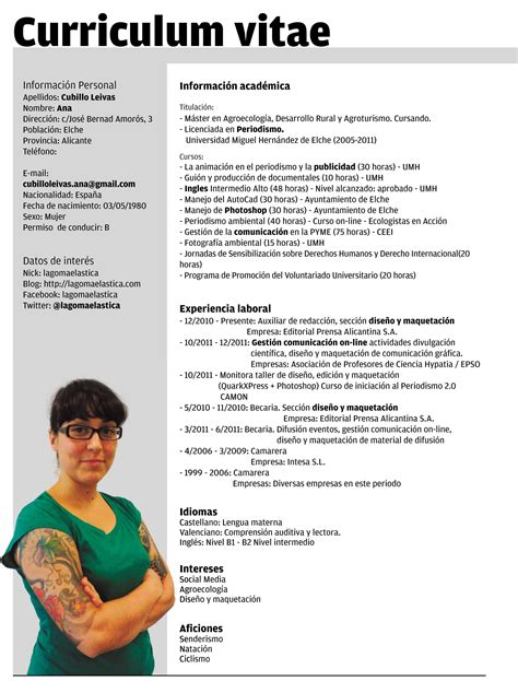 Modelo Cv En Espa A Plantillas Curriculum Vitae Ecro Word Lugares Para Visitar Words Curriculum And