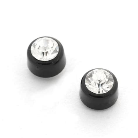 6 8mm clip on magnetic earring diamonte black clear