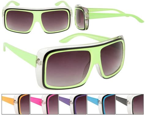 colored sunglasses unisex large lens square neon frame bright colored
