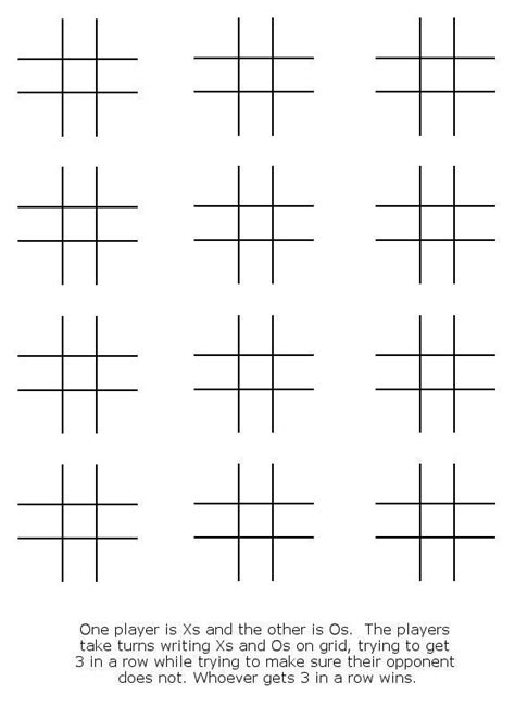 tic tac toe template crafts tic tac toe paper and activities