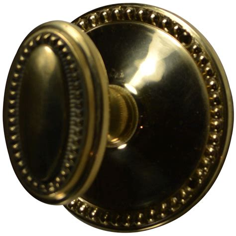 Oval Door Knob by Solid Brass Beaded Oval Door Knob Set Polished Brass Finish