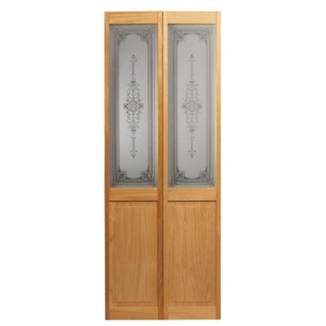 24 Interior Door With Glass Pinecroft 24 In X 80 In Baroque Decorative Glass Raised Panel Solid Unfinished Pine