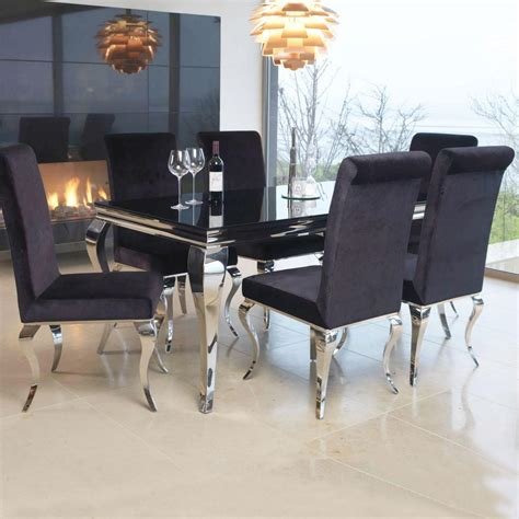 White Glass Dining Table Sets Louis Contemporary Black Or White Glass Chrome 2m 7 Dining Table Set Fli Louis 2m Dt