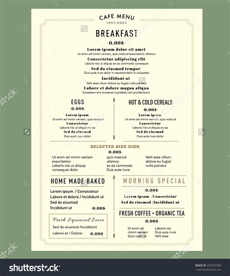 layout of a restaurant menu menu design for breakfast restaurant cafe graphic design