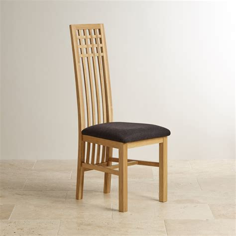 Lattice Back Natural Solid Oak Fabric Dining Chair Plain Black And Oak Dining Chairs
