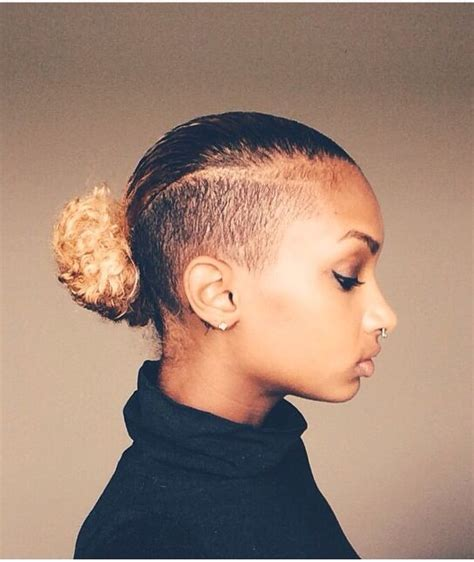 side mohack with real hair slick down shaved sides bun natural hair pinterest