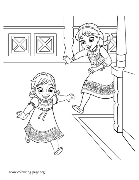 frozen coloring pages baby elsa frozen anna and elsa playing together coloring page