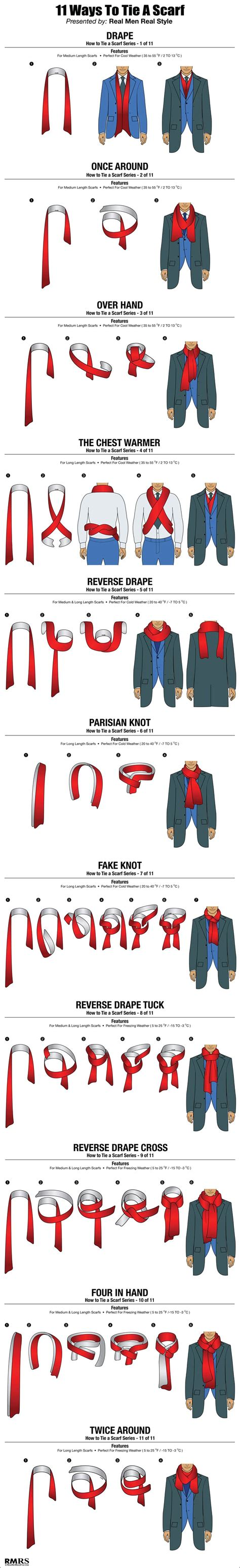 11 ways a guy can tie his scarf the huffington post how to tie a scarf chart 11 masculine ways to tie scarves
