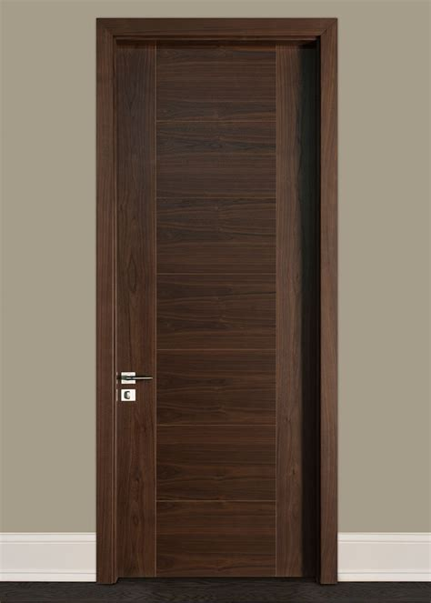 Modern Wood Doors Interior Custom Interior Door Single Wood Veneer Solid Wood With Walnut Finish Modern