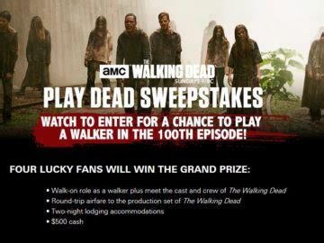 The Walking Dead Play Dead Sweepstakes - amc s the walking dead play dead sweepstakes