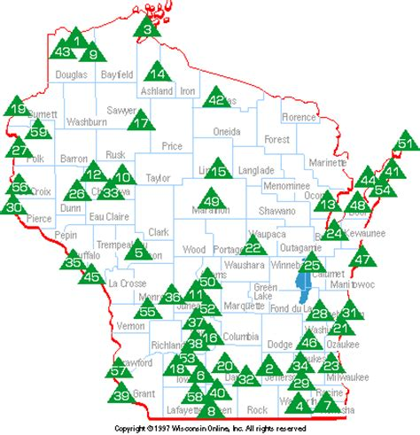 parks wi wi state park map my