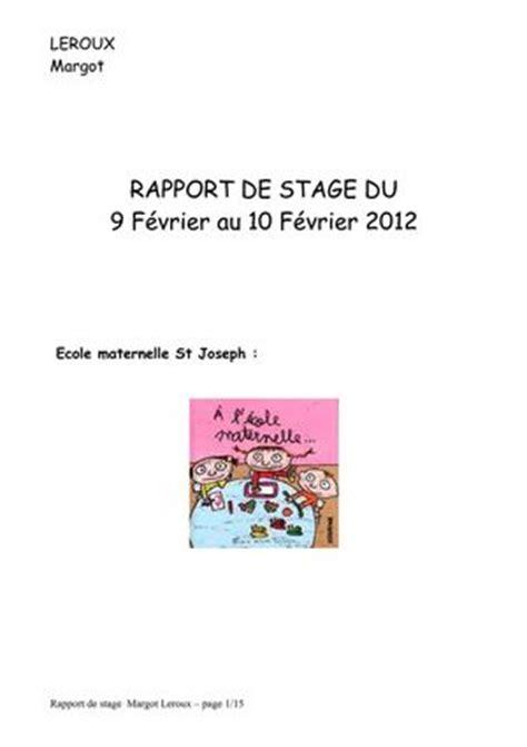 Lettre De Remerciement Stage 3eme Ecole Maternelle Modele Rapport De Stage 3eme En Ecole Maternelle Document