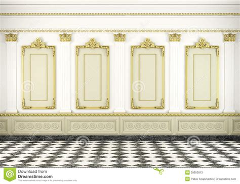 Interior Column Designs classic wall background with golden stock illustration