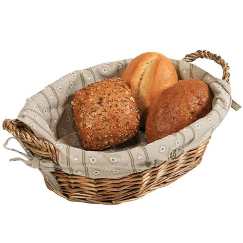 Oval Office Decor by Artisan Small Wicker Cracker Bread Basket With Linen Liner