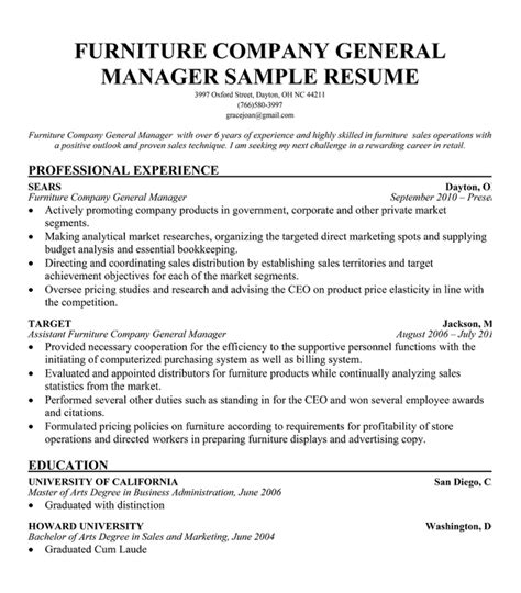 Resume Exles For Furniture Sales Furniture Sales Associate Resume