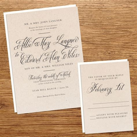Wedding Invitation Paper kxo design rustic kraft paper wedding invitation