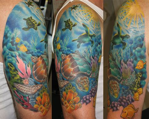 quarter sleeve ocean tattoo ocean life coral reefs and ocean life tattoos on pinterest