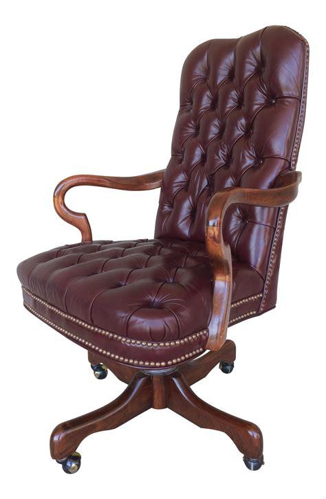 burgundy desk chair fairfield burgundy leather desk chair chairish