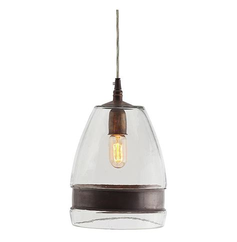 Industrial Glass Pendant Light Garrison Antique Brass Industrial Modern Clear Glass Pendant Light Kathy Kuo Home
