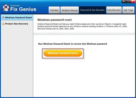 windows 7 password reset genius fix genius guide how to find password and product key