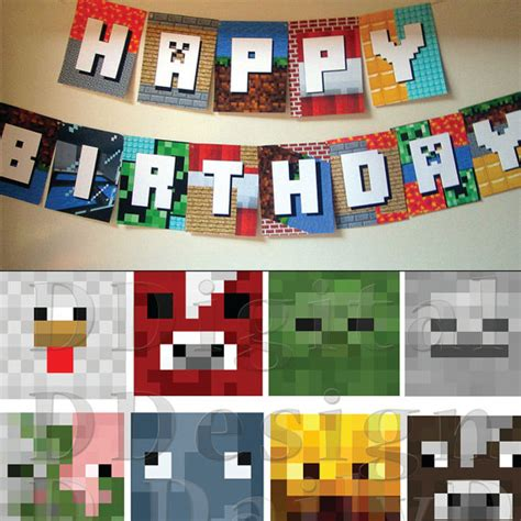 printable minecraft birthday party decorations minecraft birthday party kit with gift printable