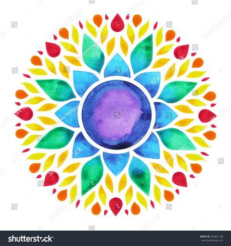 lotus flower chakra 7 color chakra sign symbol colorful stock illustration