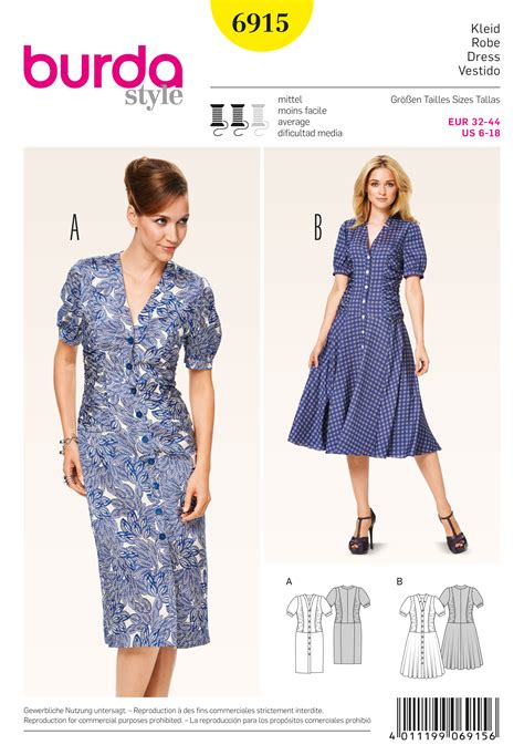pattern sewing burda burda 6915 dresses