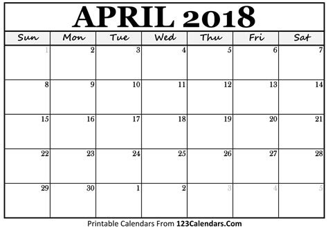 Calendar 2018 April Printable