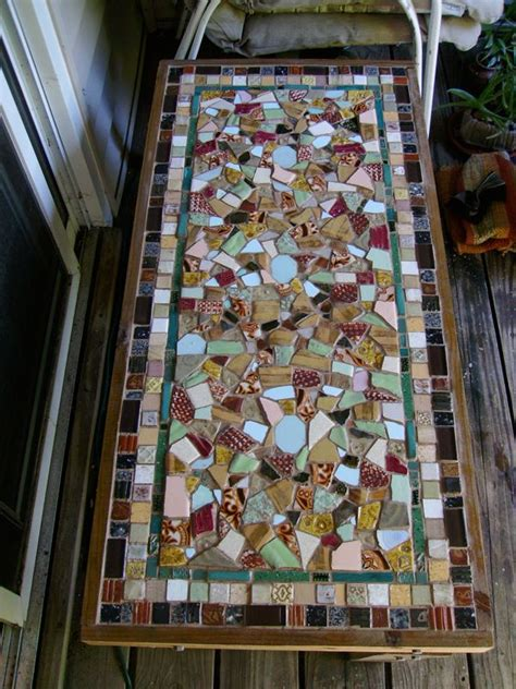 mozaiek l staand mosaic table table top with textured clay tiles tutorial